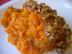 Ruth Chris' Sweet Potato Casserole   Ingredients:  CRUST  1  cup brown sugar    1/3 cup flour    1  cup  chopped nuts (pecans preferred)  ...