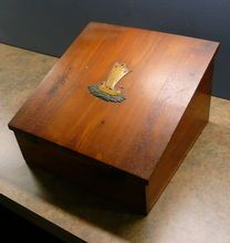 Vintage Cedar Lap Desk or Letter Box With Junket Ship Emblem, Shop Rubylane.com