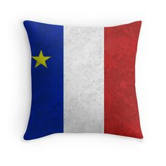 Acadien) Flag of Canada in the Maritime. Blue, White and Red with the Yellow Star on the Blue. Done in a distressed and grunge style. Available as T-Shirts Acadie, Buy Flags, Quilting Tutorials, Grunge Style, Grunge Fashion, Custom Pillows, Cute Cartoon, Pouches