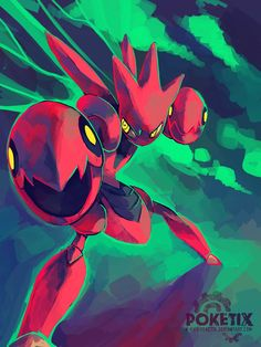 Scizor - A Scizor has a body with the hardness of steel. It is not easily fazed by ordinary sorts of attacks. It flaps its wings to regulate its body temperature.