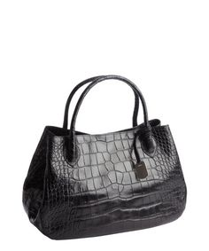 Furla black croc embossed leather 'New Giselle' top handle bag