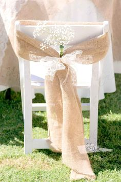 Rustic Decor Natural Tan Burlap Folding Chair Wide Sash