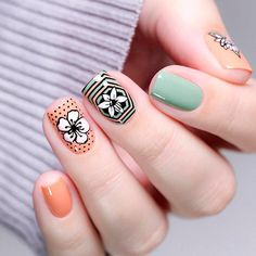 beautiful-flowers-nail-square-peach-green-stamping Top 14 Beautiful Flowers Nail Design Nail Art Gel Nails 2018 gel nails Gel Nail Designs 2018 designs art acrylic 2018