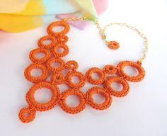 Mercury's Rings, Textile Jewelry, Necklace, Textile Collar Necklace, Random Circles Necklace - #TextileJewelry - handcratf