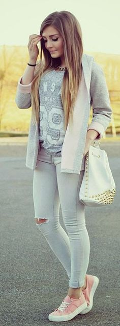 Pink Sneakers Outfit Idea
