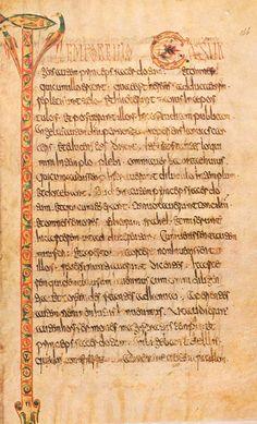 Lectionnaire de Luxeuil. Initiale T. Luxeuil. Fin du VIIe siècle. Paris, Bibliothèque Nationale