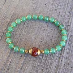 Aventurine bead mala bracelet with Tibetan capped carnelian guru bead by #lovepray #jewelry