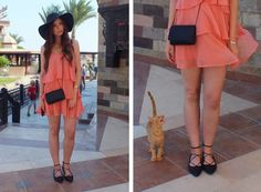 Fashion Love: URLAUBSOUTFIT: APRICOT VOLANT DRESS, STRAW HAT & GHILLIE SANDALS