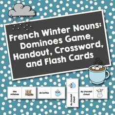 French Winter Nouns: Dominoes, Vocabulary Activities, and Word Wall Cards