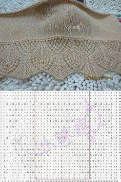 Fantasia con ferri da maglia dal libro di Hitomi Shida Knitting Source by . Lace Knitting Stitches, Lace Knitting Patterns, Knitting Charts, Lace Patterns, Easy Knitting, Knitting Needles, Needles Art, Gilet Crochet, Crochet Shawl