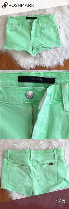 Bright green Joes jean shorts. Soft material. Fits me as a size 26. Has stretch in the material. Brighter green in person! Joe's Jeans Shorts Jean Shorts