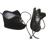 Antique doll black leather lace up boot shoes 5