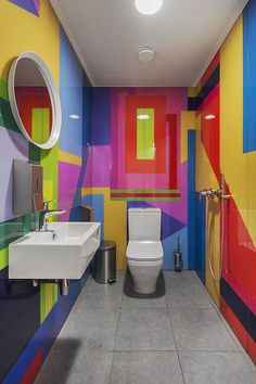 ABD architects has recently developed the new offices of Swatch Group located in Moscow, Russia. Swatch Group is an international company, headquartered Bathroom Mural, Bathroom Wallpaper, Washroom, Toilet Design, Rustic Bathrooms, Bathroom Design Small, Office Interiors, Amazing Bathrooms, House Colors