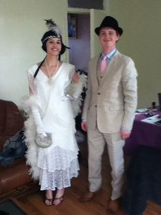 1920s dress and suit in white and beige – Mad World Fancy Dress