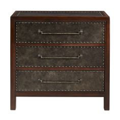 Spruce up your home with this 3 drawer accent chest. Featuring faux leather and brad nail accents, this accent cabinet will provide the perfect surface area to display pictures and decorative items in your living room or home office. No assembly required. Accent Furniture, Pallet Furniture, Kitchen Furniture, Furniture Handles, Brown Furniture, Furniture Logo, Furniture Companies, Furniture Stores, Industrial Furniture