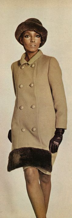 https://flic.kr/p/Hu4m6j | 1966 Fashion Ad Layout, Ebony, Lanvin of Paris Double-Breasted Coat & Fur Hat | Fashion description: Unique eight-button double-breasted coat, by Lanvin of Paris, has beaver-trimmed front panel and one can only don it by stepping into it.  Published in Ebony, October 1966 - Vol 21, No. 12  Fair use/no known copyright. If you use this photo, please provide attribution credit; not for commercial use (see Creative Commons license).