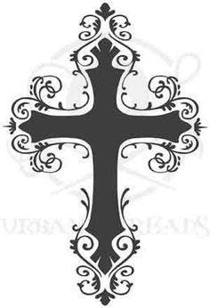 Unique Black Ink Cross Tattoo Design