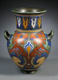Zuid Holland Gouda Pottery Matte Glaze Floor Vase.