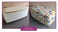 1960's Ottoman Before and after upholstery.