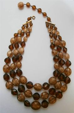 Vintage Early 1960s Rockabilly 3-String Brown & Amber Toned Lucite Bead Necklace