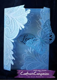 Faux Parchment Gatefold Card made using Crafter's Companion Ornate Lace Embossing Folder. Designed by Nick Roberts fabric appliques