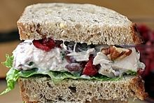 Chicken or Turkey Salad with Cranberries & Pecans -- A healthy recipe made with yogurt