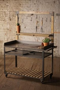Industrial Furniture Industrial Metal and Wood Potting Station, Hooks Included (Diy Garden Shed) Vintage Industrial Furniture, Industrial Interiors, Metal Furniture, Industrial Metal, Fairy Furniture, Industrial Bookshelf, Furniture Stores, Furniture Design, Potting Bench Plans