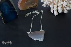Two stone agate necklace. Set jewelry two necklace. Natural stone broken agate jewelry. White brown transparent stone agate necklace jewelry - pinned by pin4etsy.com