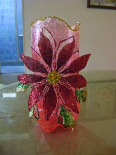 Recycled PET bottle Further pictures can be seen on my 'DIY Water Bottle Crafts, Reuse Plastic Bottles, Plastic Bottle Flowers, Plastic Bottle Crafts, Recycled Bottles, Diy Arts And Crafts, Jar Crafts, Christmas Art, Christmas Decorations