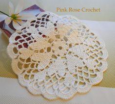 \ PINK ROSE CROCHET /: Centrinhos Coração Vermelho e Branco