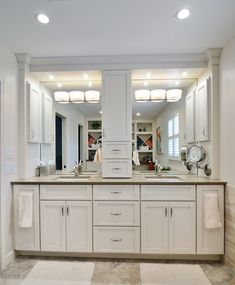 Good Bathroom Vanities With Towers Double Vanity With Storage - Double sink vanity with center cabinet