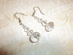 Swarovski crystal bridal earrings pierced wedding by kathyjohnson3, $24.00