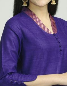 Trendy Neck Designs to Try with Plain Kurtis - Indian Fashion Ideas Chudi Neck Designs, Neck Designs For Suits, Neckline Designs, Designs For Dresses, Dress Neck Designs, Blouse Designs, Salwar Designs, Kurta Designs Women, Plain Kurti Designs