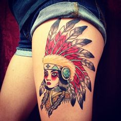 Native Indian girl traditional tattoo