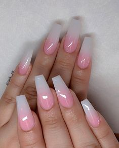 If you are also a big fan of coffin nails, then you can carnival here! We have collected many, many best coffin-shaped nails. Today, let's focus on the acrylic coffin nails. Acrylic Nails Natural, Best Acrylic Nails, Summer Acrylic Nails, Summer Nails, Stylish Nails, Trendy Nails, Ambre Nails, French Gel, Pink Ombre Nails