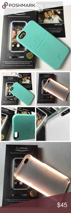 LuMee Turquoise light up cell phone case LuMee Turquoise light up cell phone case. This comes with the box, user guide and recharable cord. The smartphone case that lights up your face with front facing lighting. Bright adjustable LED lights and is rechargeable for IPhone 6 Plus. It does have a few barely noticeable marks as pictured. Used by celebrities and seen on CNN, Today show, InStyle and CNBC. Original price $69.00. LuMee Accessories Phone Cases