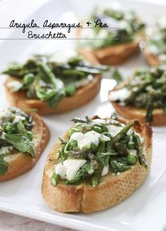 Arugula, Asparagus, and Pea Bruschetta via Better Homes and Gardens Delish Dish Blog! Get the recipe: http://www.bhg.com/...
