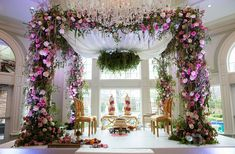 Pink and white floral mandap for a vintage garden theme wedding of Prianca and Meelan