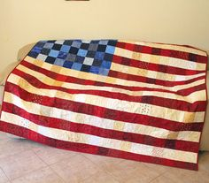 Patriotic Throw - Large Lap Quilt - Wall Hanging - Quilt of Valor - Veteran Quilt - Patriotic Quilt Decor - Patchwork Flag - MADE TO ORDER