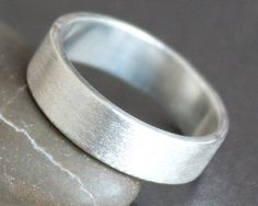Sterling Silver Ring - 5mm Wide Band - Unisex - MATTE / BRUSHED Finish - Alternative Wedding Ring