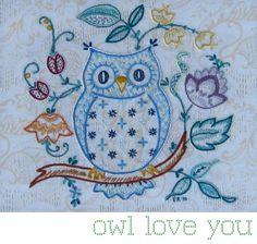 My Barn Owl: Coruja te amo: teste padrão do bordado