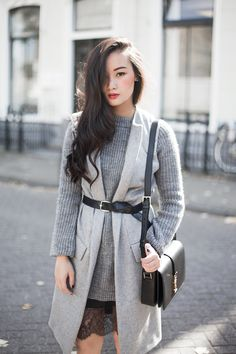 Inspo for how I can wear my slip with lace... Love the belt detail.