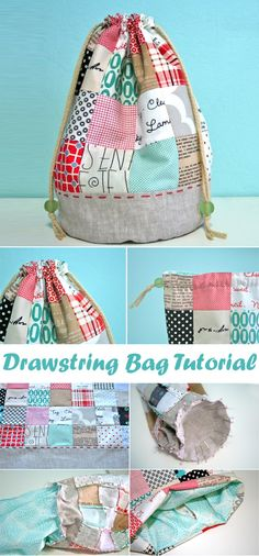 DIY other Patchwork Drawstring Bag Tutorial ~ DIY Tutorial Ideas! Tutorial Patchwork, Bag Patterns To Sew, Sewing Patterns Free, Sewing Hacks, Sewing Tutorials, Sewing Tips, Sewing Ideas, Bag Sewing, Drawstring Bag Tutorials