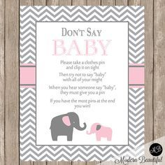 Don't Say Baby Game Sign Pink and Gray Elephant by ModernBeautiful