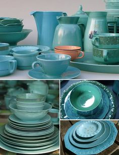 DYED VINTAGE TABLEWARE BY JEANINE EEK KEIZER | THE STYLE FILES ~ I love this colour!