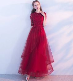Burgundy tulle lace long prom dress, burgundy tulle evening dress Material: tulle, lace Size: US US US US US US US US, 16 Shoulder to Shoulder to Shoulder to . Dresses Elegant, Pretty Dresses, Sexy Dresses, Beautiful Dresses, Evening Dresses, Fashion Dresses, Tulle Prom Dress, Homecoming Dresses, Tulle Lace