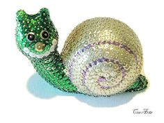 Sequin Ornament Sequined Snail Colorful Sequined by CreArtebyPatty