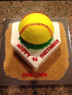 Another variation of softball birthday cake. Softball Cupcakes, Softball Birthday Parties, Baseball Birthday, Softball Party, Softball Stuff, Softball Crafts, Girls Softball, Softball Hair, Softball Bows