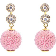 Latelita London - Stingray Ball Earring With Zircon Pink (€205) ❤ liked on Polyvore featuring jewelry, earrings, ball jewelry, earrings jewelry, zircon jewelry, pave jewelry and star earrings
