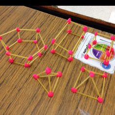 3D shapes with spaghetti and play dough - much cheaper than toothpicks and marshmallows, especially since i have TONS of play dough!